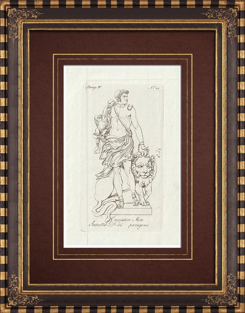 Stampe Antiche & Disegni | Cacciatore moro - Paragone Cacciatore nero - Galleria Borghese - Roma | Incisione su rame | 1796