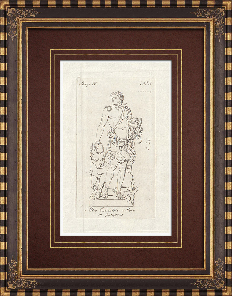 Antique Prints & Drawings | Black hunter - Paragone - Galleria Borghese - Rome | Copper engraving | 1796