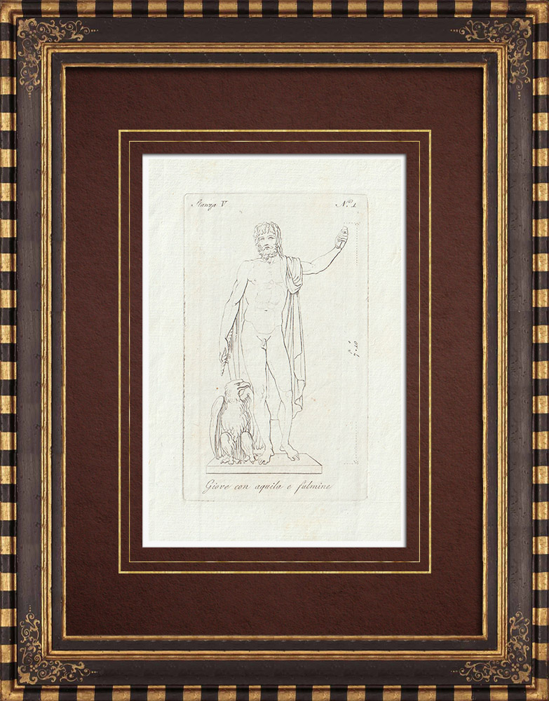 Antique Prints & Drawings | Jupiter with eagle and lightning - Galleria Borghese - Rome | Copper engraving | 1796