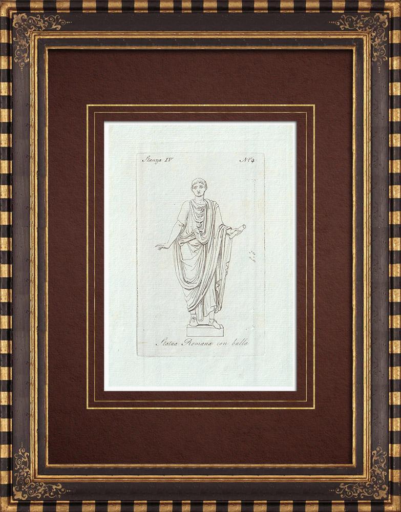 Gravures Anciennes & Dessins   Statua Romana con bulla - Homme en toge - Galerie Borghèse - Rome   Gravure sur cuivre   1796