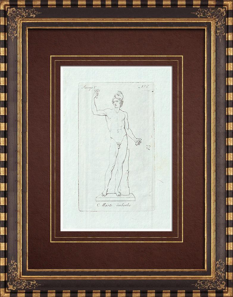 Stampe Antiche & Disegni | Marte imberbe - Nudo maschio - Galleria Borghese - Roma | Incisione su rame | 1796