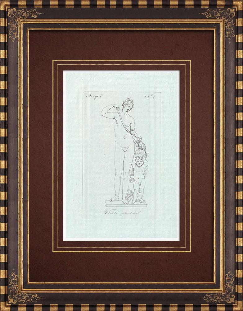 Gravures Anciennes & Dessins | Vénus vainqueur - Nu féminin - Galerie Borghèse - Rome | Gravure sur cuivre | 1796