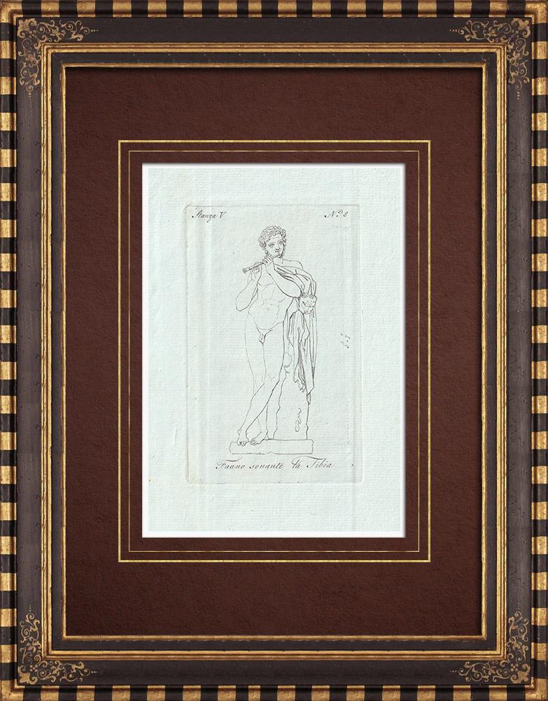 Stampe Antiche & Disegni | Fauno sonante la Tibia  - Galleria Borghese - Roma | Incisione su rame | 1796