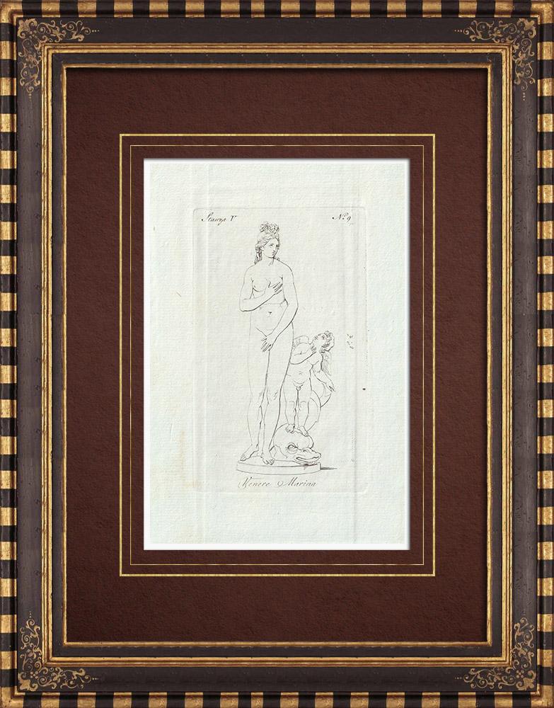 Stampe Antiche & Disegni | Venere Marina - Venere - Cupido - Galleria Borghese - Roma | Incisione su rame | 1796
