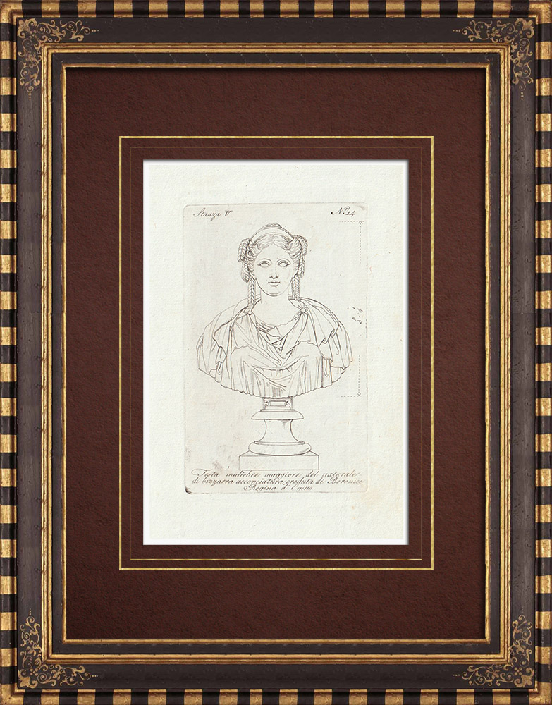 Antique Prints & Drawings | Berenice II of Egypt - Ancient Egypt - Galleria Borghese - Rome | Copper engraving | 1796
