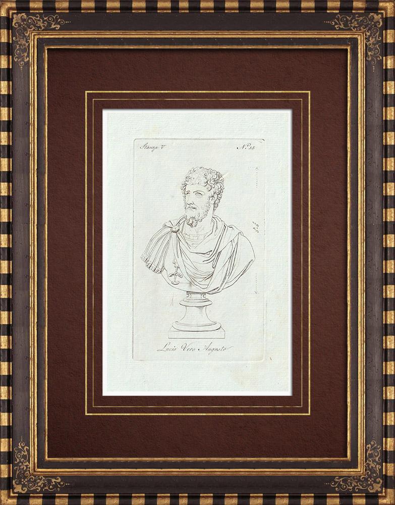 Grabados & Dibujos Antiguos | Lucio Vero - Emperador romano - Galería Borghese - Roma | Grabado calcográfico | 1796