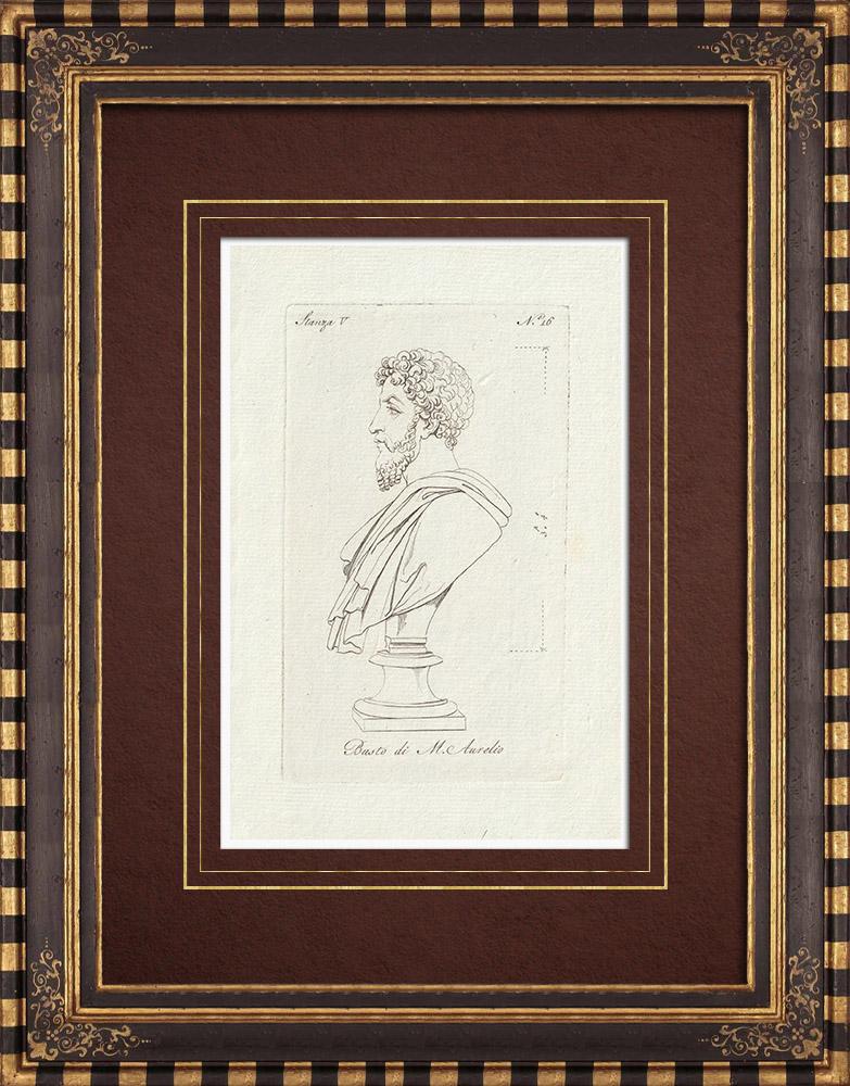 Stampe Antiche & Disegni | Marco Aurelio - Impero romano - Galleria Borghese - Roma | Incisione su rame | 1796
