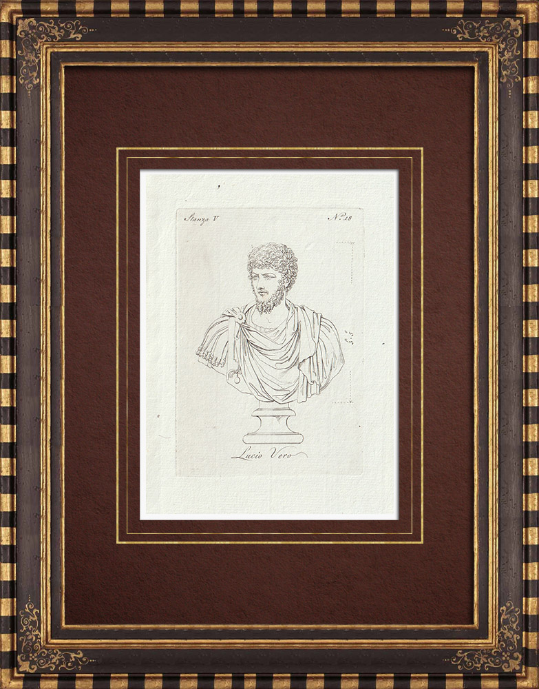 Stampe Antiche & Disegni | Lucio Vero - Impero romano - Galleria Borghese - Roma | Incisione su rame | 1796