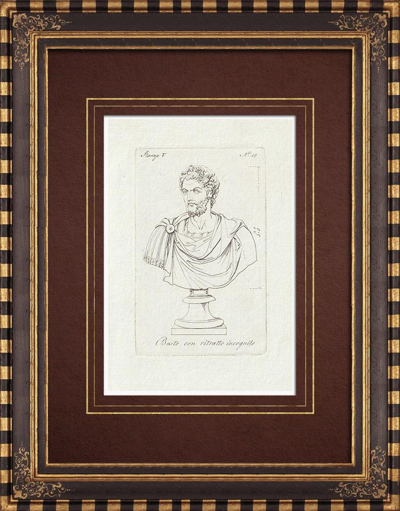 Stampe Antiche & Disegni | Busto di un uomo sconosciuto - Galleria Borghese - Roma | Incisione su rame | 1796