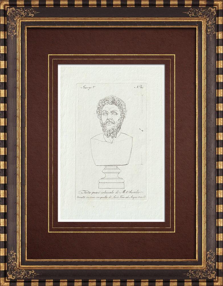 Grabados & Dibujos Antiguos | Cabeza de Marco Aurelio - Emperador romano - Galería Borghese - Roma | Grabado calcográfico | 1796