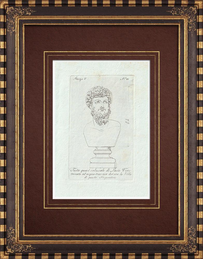 Stampe Antiche & Disegni | Testa di Lucio Vero - Impero romano - Galleria Borghese - Roma | Incisione su rame | 1796