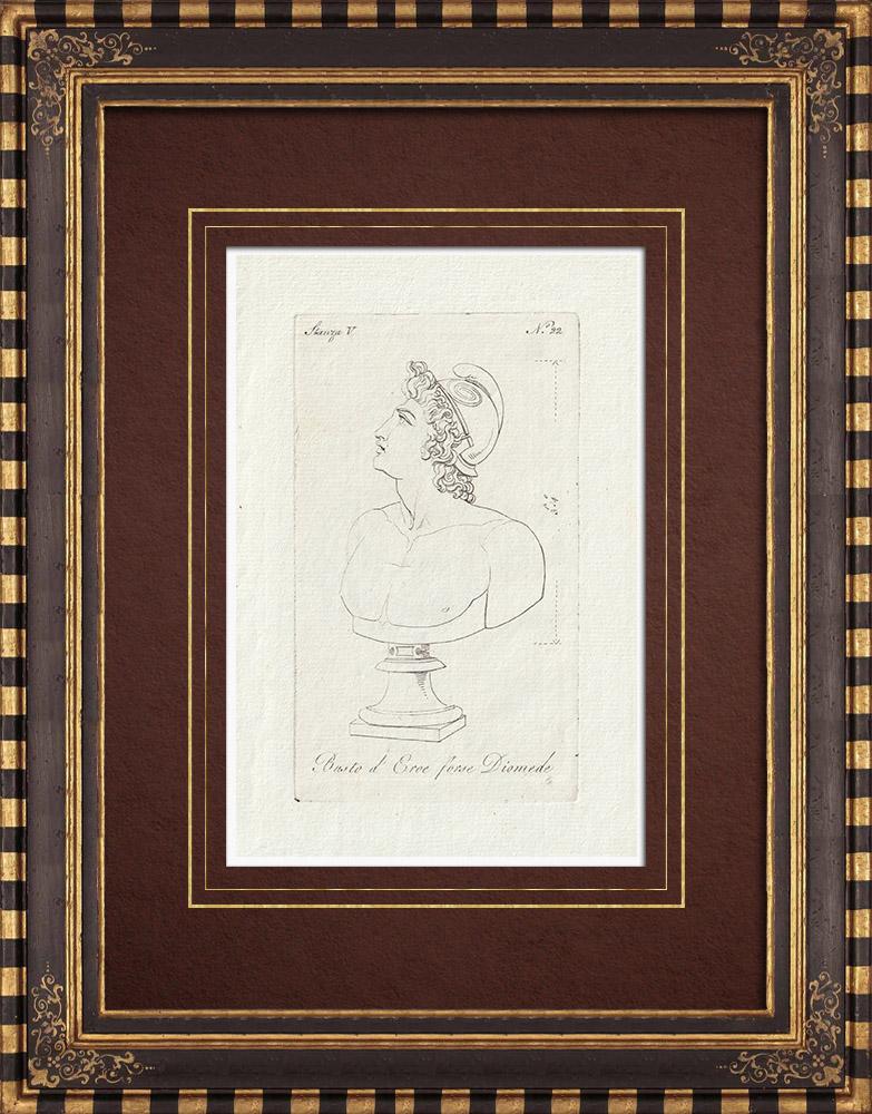 Stampe Antiche & Disegni | Testa di un eroe con un casco - Diomede - Galleria Borghese - Roma | Incisione su rame | 1796
