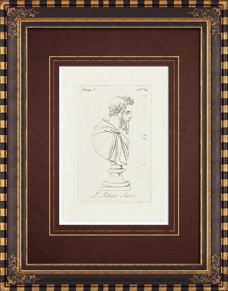 Stampe Antiche & Disegni | Settimio Severo - Imperatore Romano - Galleria Borghese - Roma | Incisione su rame | 1796