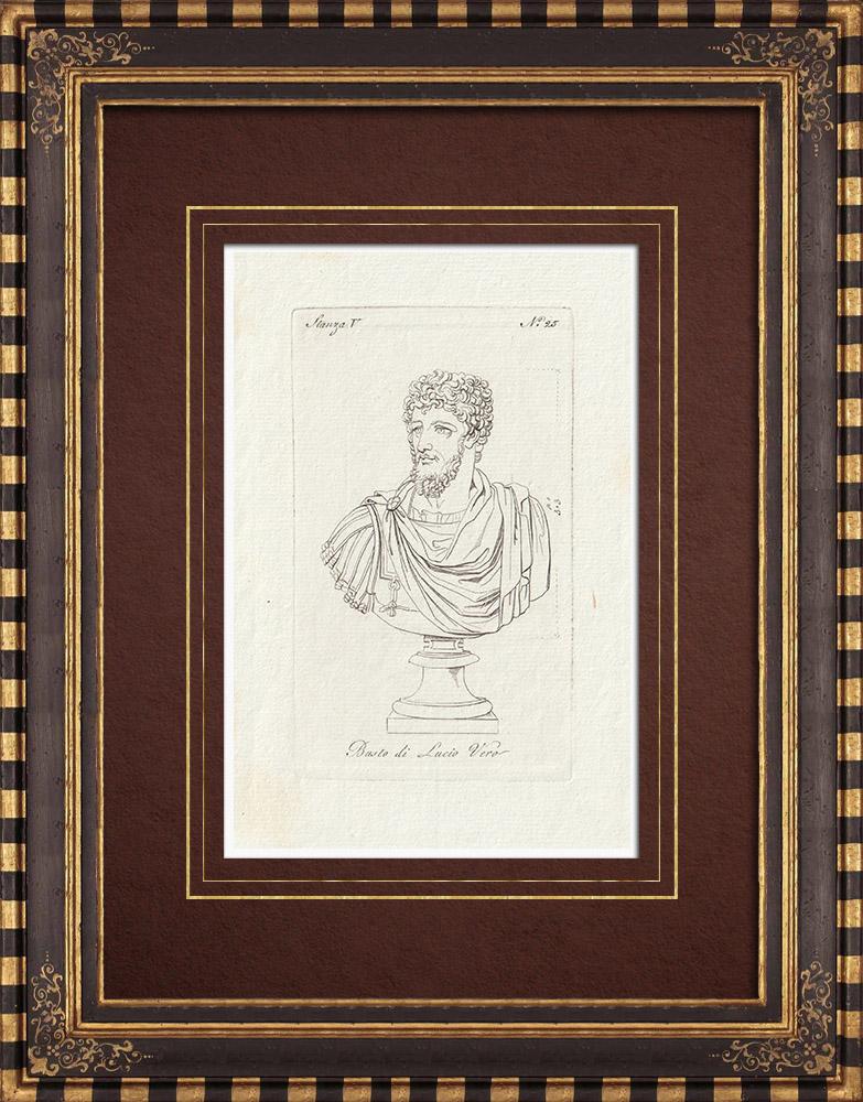 Antique Prints & Drawings | Bust of Lucius Verus - Roman Emperor - Galleria Borghese - Rome | Copper engraving | 1796
