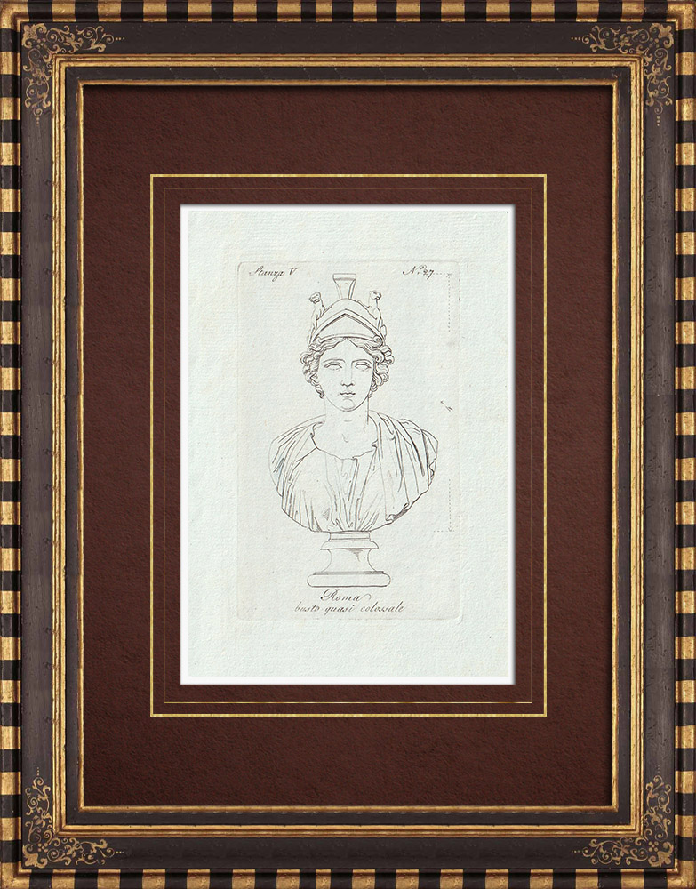 Antique Prints & Drawings | Bust - Warrior Rome - Galleria Borghese - Rome | Copper engraving | 1796