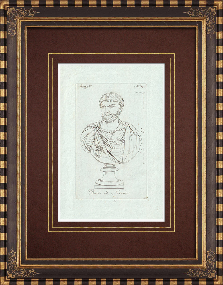Antique Prints & Drawings | Bust of Nero - Roman Emperor - Galleria Borghese - Rome | Copper engraving | 1796
