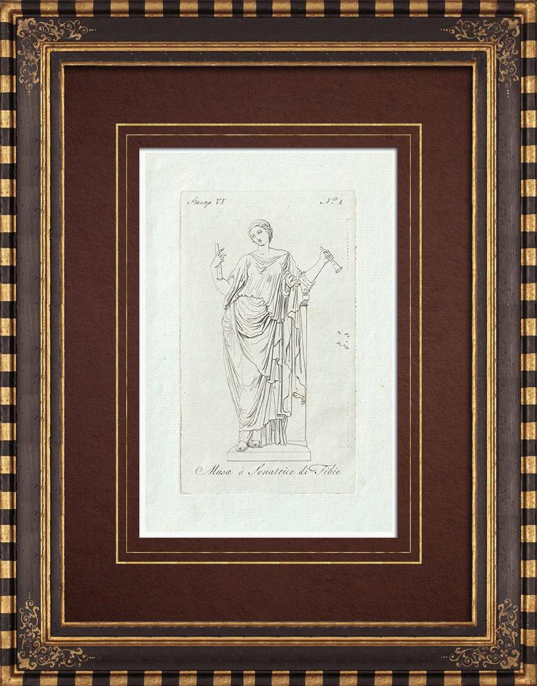 Stampe Antiche & Disegni | Musa - Musa o Sonatrice di Tibie - Galleria Borghese - Roma | Incisione su rame | 1796