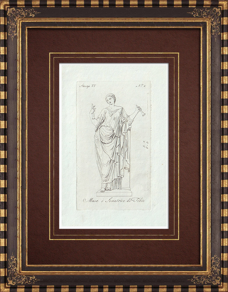 Grabados & Dibujos Antiguos | Musa - Musa o Sonatrice di Tibie - Galería Borghese - Roma | Grabado calcográfico | 1796