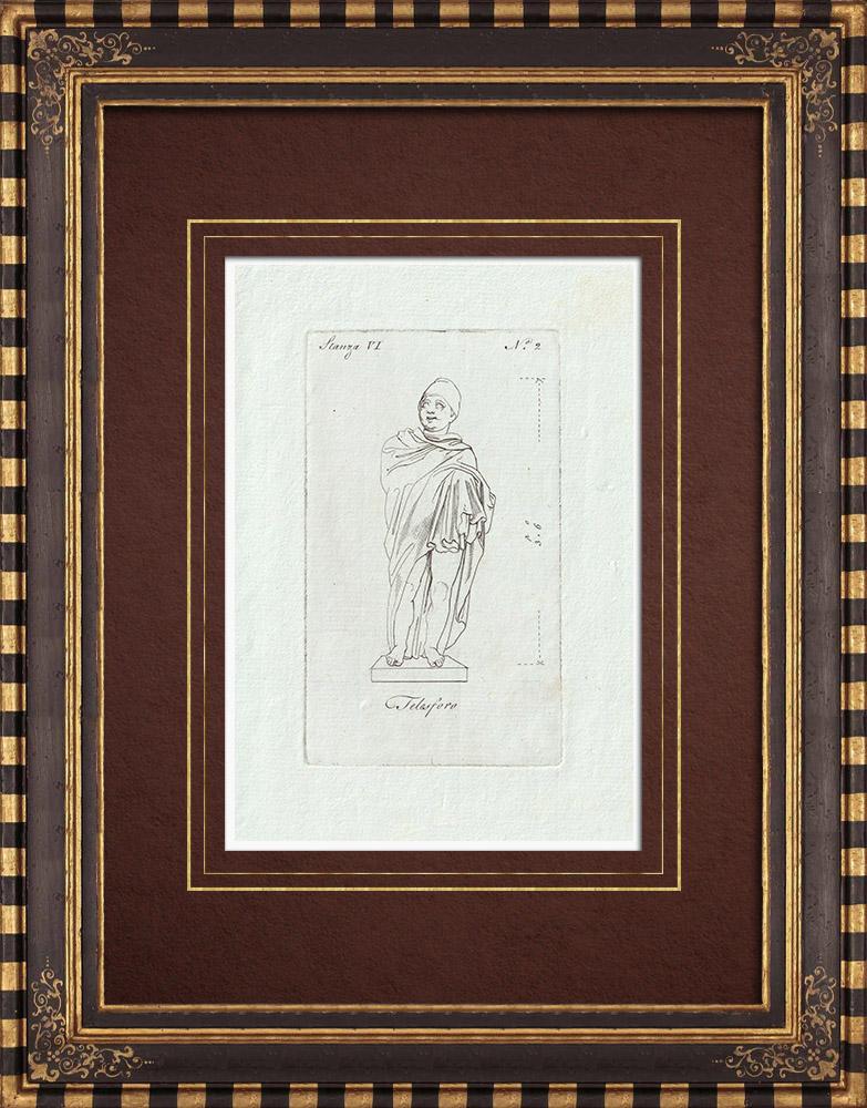 Stampe Antiche & Disegni | Statua di Telesforo - Galleria Borghese - Roma | Incisione su rame | 1796