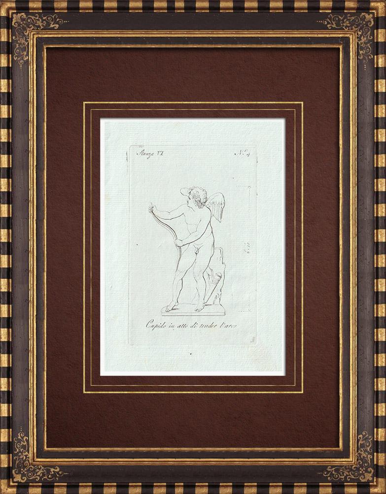 Gravures Anciennes & Dessins | Cupidon tend son arc - Galerie Borghèse - Rome | Gravure sur cuivre | 1796