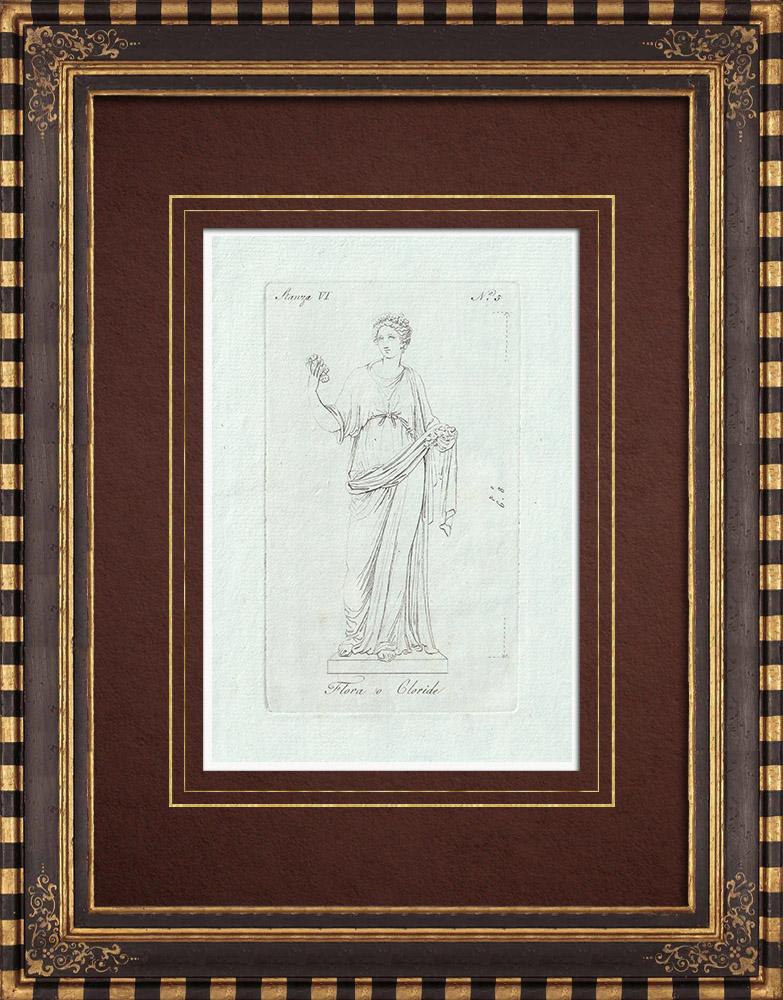 Stampe Antiche & Disegni | Flora o Chloris - Mitologia - Galleria Borghese - Roma | Incisione su rame | 1796