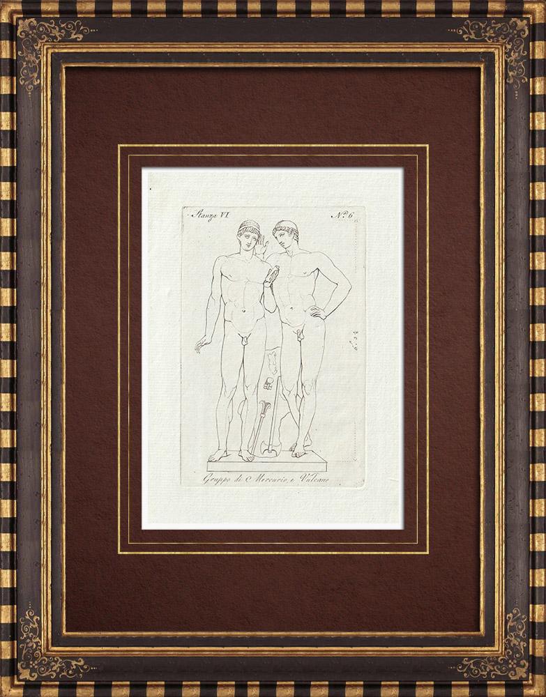 Grabados & Dibujos Antiguos | Estatua de Mercurio y Vulcano - Galería Borghese - Roma | Grabado calcográfico | 1796