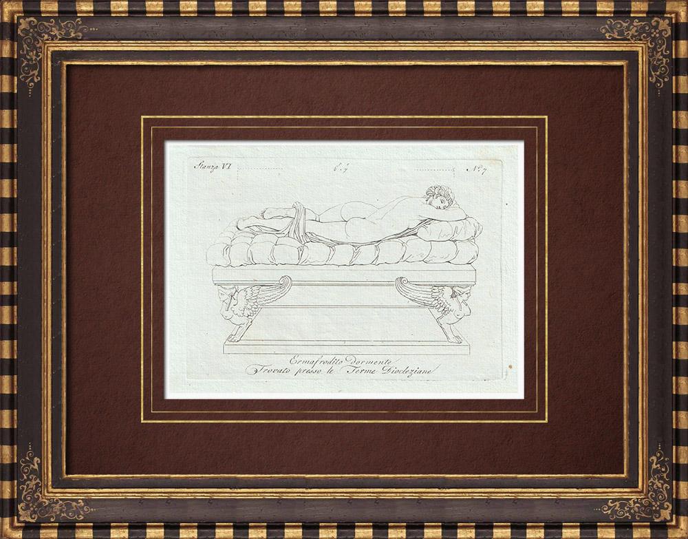 Stampe Antiche & Disegni | Ermafrodito dormiglione - Galleria Borghese - Roma | Incisione su rame | 1796