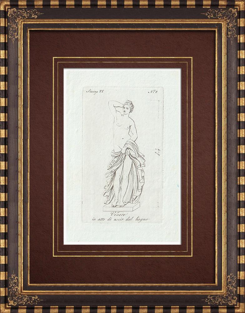 Gravures Anciennes & Dessins | Vénus sortant du Bain - Galerie Borghèse - Rome | Gravure sur cuivre | 1796