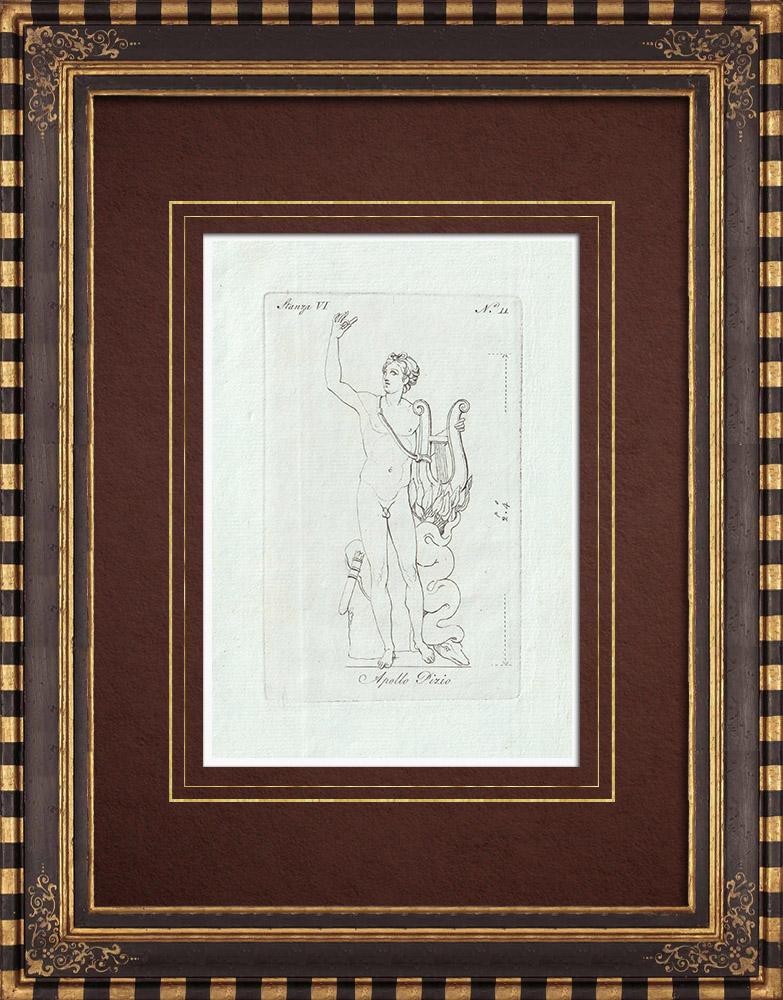 Stampe Antiche & Disegni | Apollo di Belvedere anche chiamato Apollo Pizio - Galleria Borghese - Roma | Incisione su rame | 1796