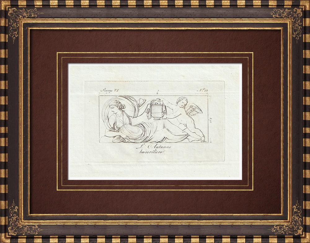 Stampe Antiche & Disegni | Autunno - Donna - Genio alato - Galleria Borghese - Roma - Bassorilievo | Incisione su rame | 1796