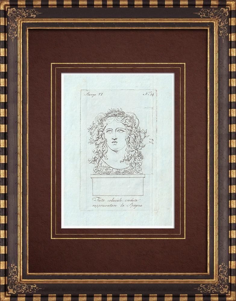 Gravures Anciennes & Dessins | Testa creduta rappresentare la Spagna - Espagne - Galerie Borghèse - Rome | Gravure sur cuivre | 1796