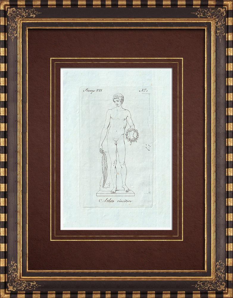 Stampe Antiche & Disegni | Atleta vincente - Nudo Maschio - Galleria Borghese - Roma | Incisione su rame | 1796