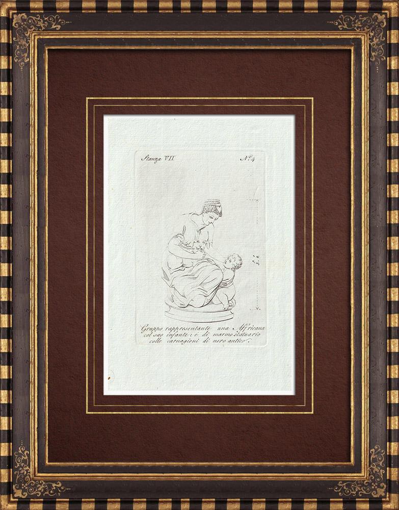 Stampe Antiche & Disegni | Una donna africana e suo figlio - Galleria Borghese - Roma | Incisione su rame | 1796