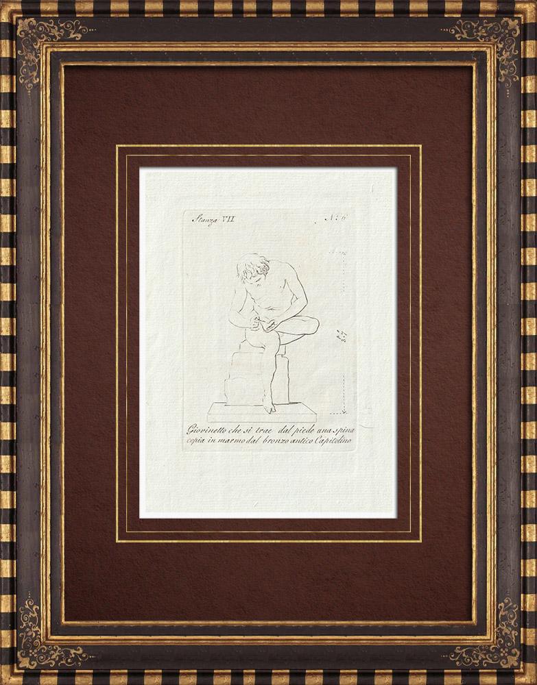 Grabados & Dibujos Antiguos | Joven hombre - Espina - Pie - Galería Borghese - Roma | Grabado calcográfico | 1796