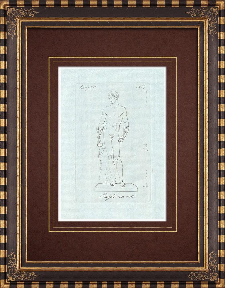 Stampe Antiche & Disegni | Pugile con cesti - Galleria Borghese - Roma | Incisione su rame | 1796