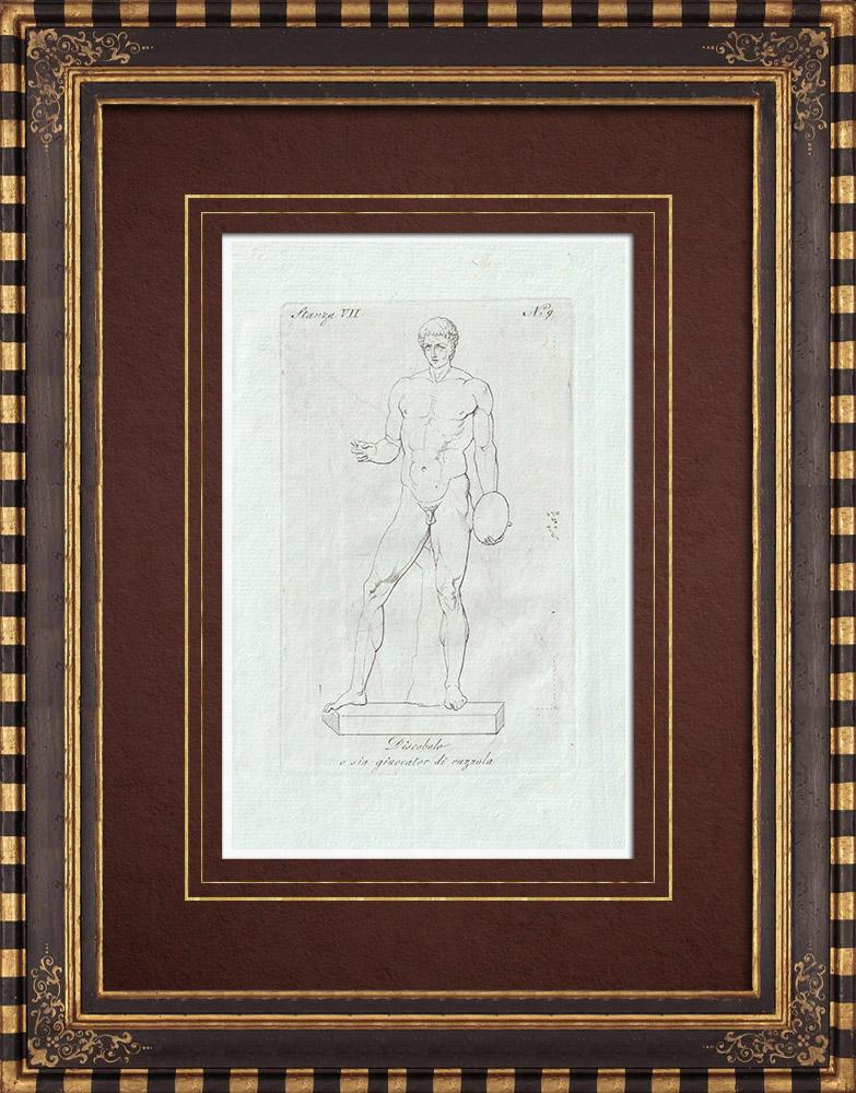 Grabados & Dibujos Antiguos | Discóbolo - Jugador de ruzzola - Galería Borghese - Roma | Grabado calcográfico | 1796