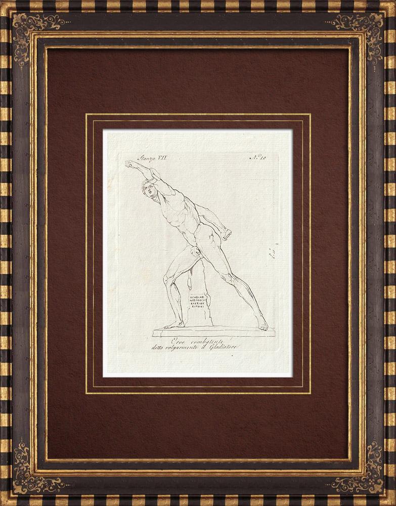 Stampe Antiche & Disegni | Gladiatore - Eroi combattente - Galleria Borghese - Roma | Incisione su rame | 1796