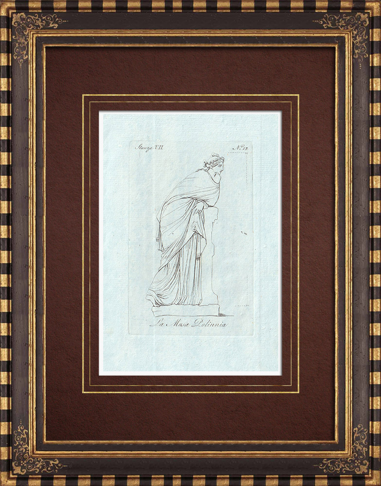 Antique Prints & Drawings | Muse Polyhymnia - Galleria Borghese - Rome | Copper engraving | 1796