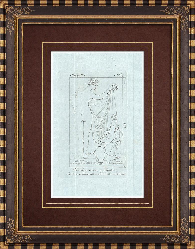 Gravures Anciennes & Dessins   Vénus avec Cupidon et un monstre marin - Galerie Borghèse - Rome   Gravure sur cuivre   1796