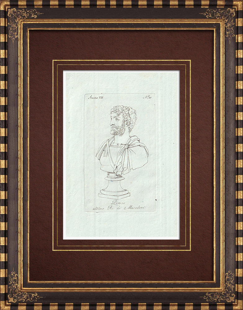 Antique Prints & Drawings | Bust of Perseus of Macedon - Galleria Borghese - Rome | Copper engraving | 1796