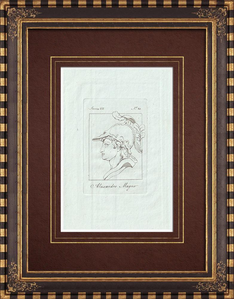 Stampe Antiche & Disegni   Testa di Alessandro Magno con casco - Galleria Borghese - Roma   Incisione su rame   1796