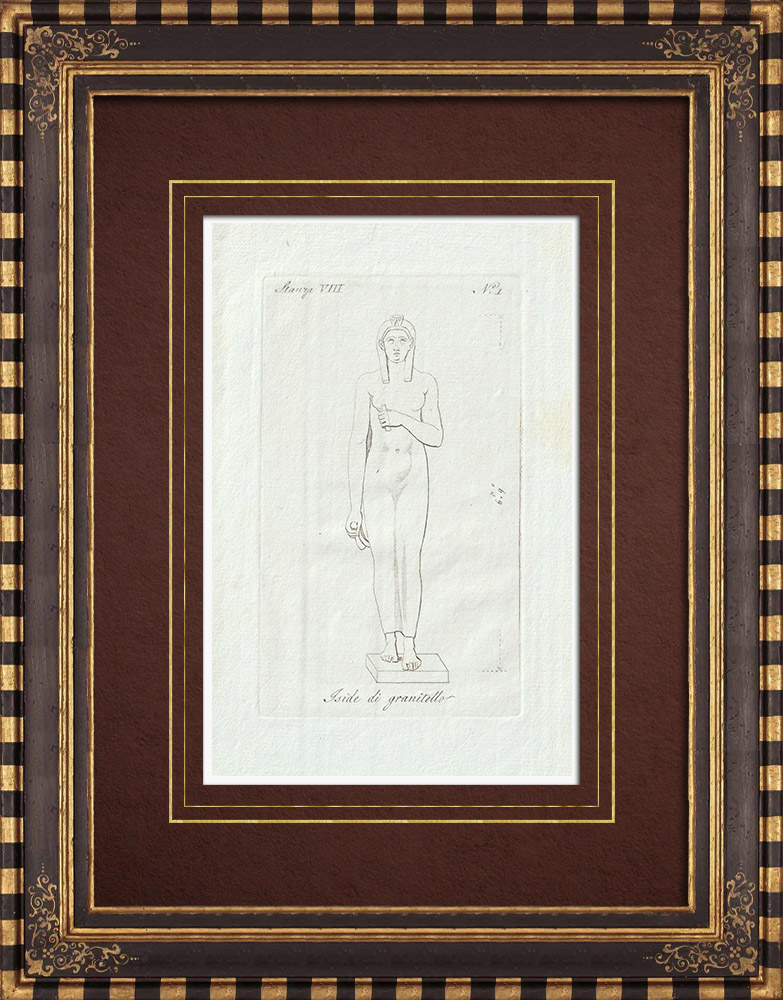 Antique Prints & Drawings | Isis - Ancient Egypt - Egyptian god - Galleria Borghese - Rome | Copper engraving | 1796