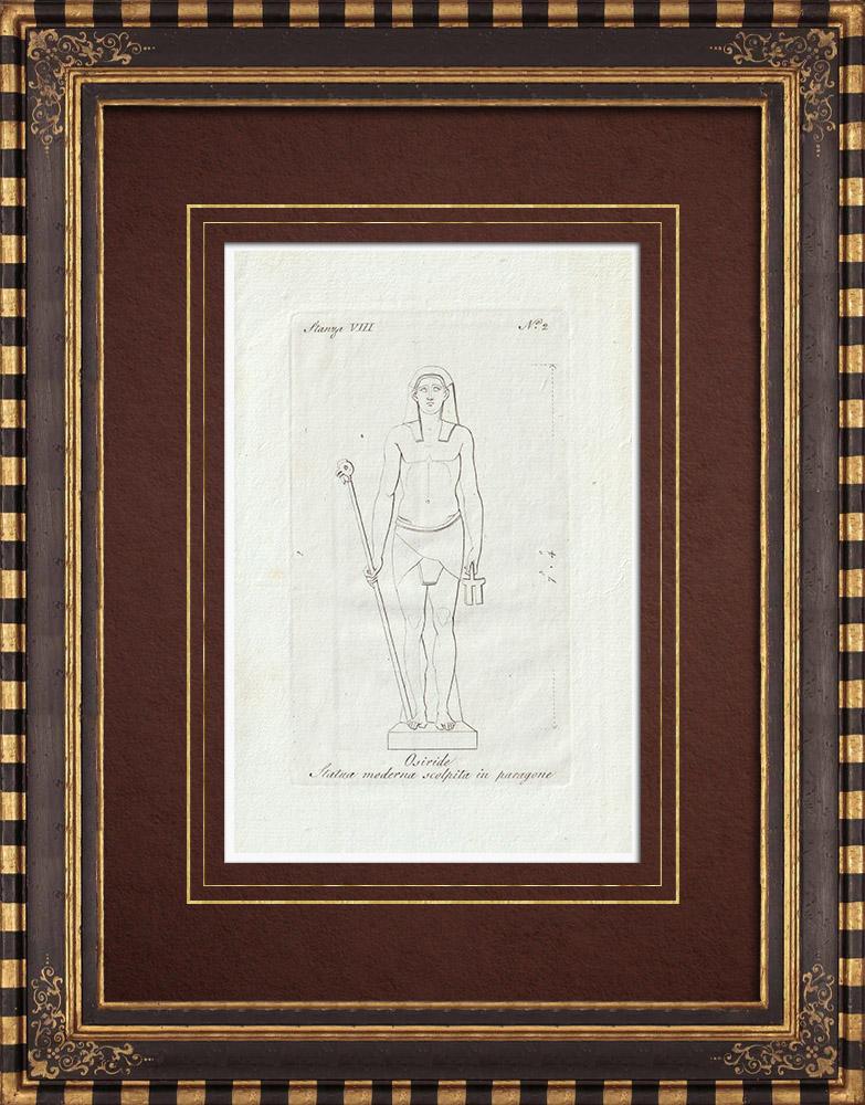Gravures Anciennes & Dessins | Osiris - Egypte Antique - Mythologie - Galerie Borghèse - Rome | Gravure sur cuivre | 1796