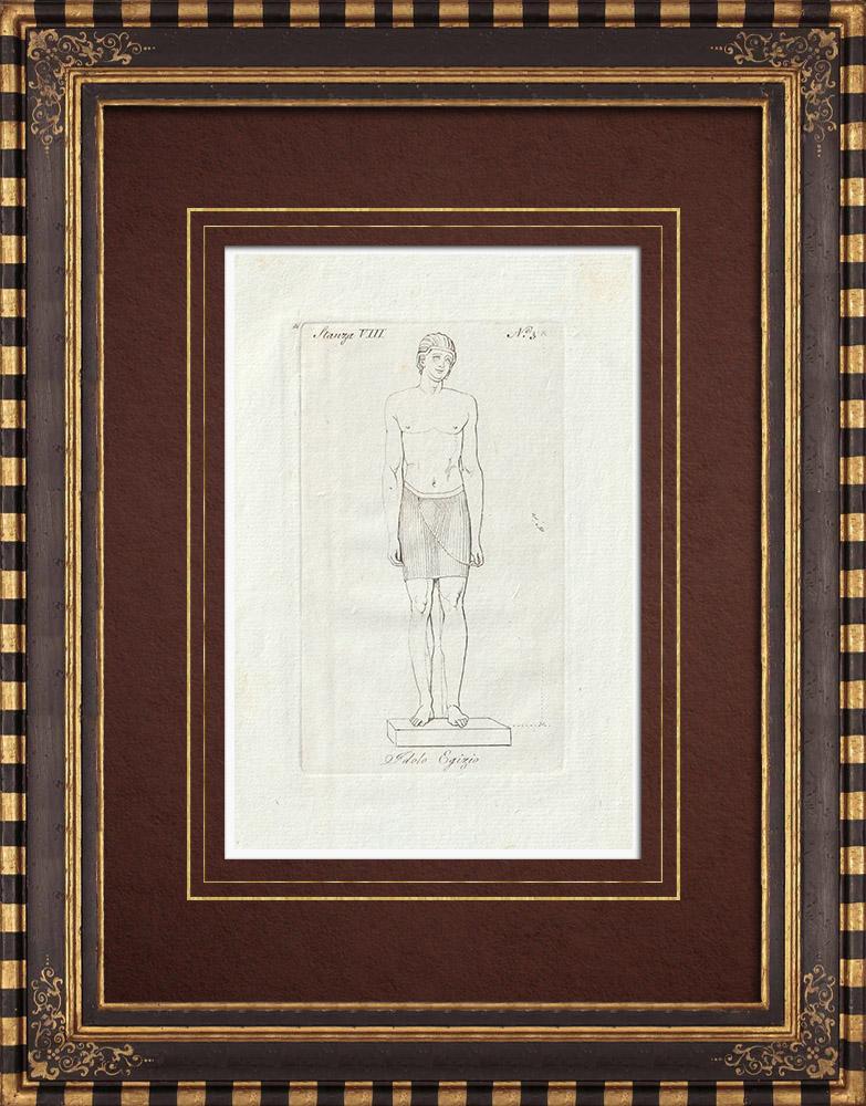 Stampe Antiche & Disegni | Idolo Egizio - Antico Egitto - Galleria Borghese - Roma | Incisione su rame | 1796