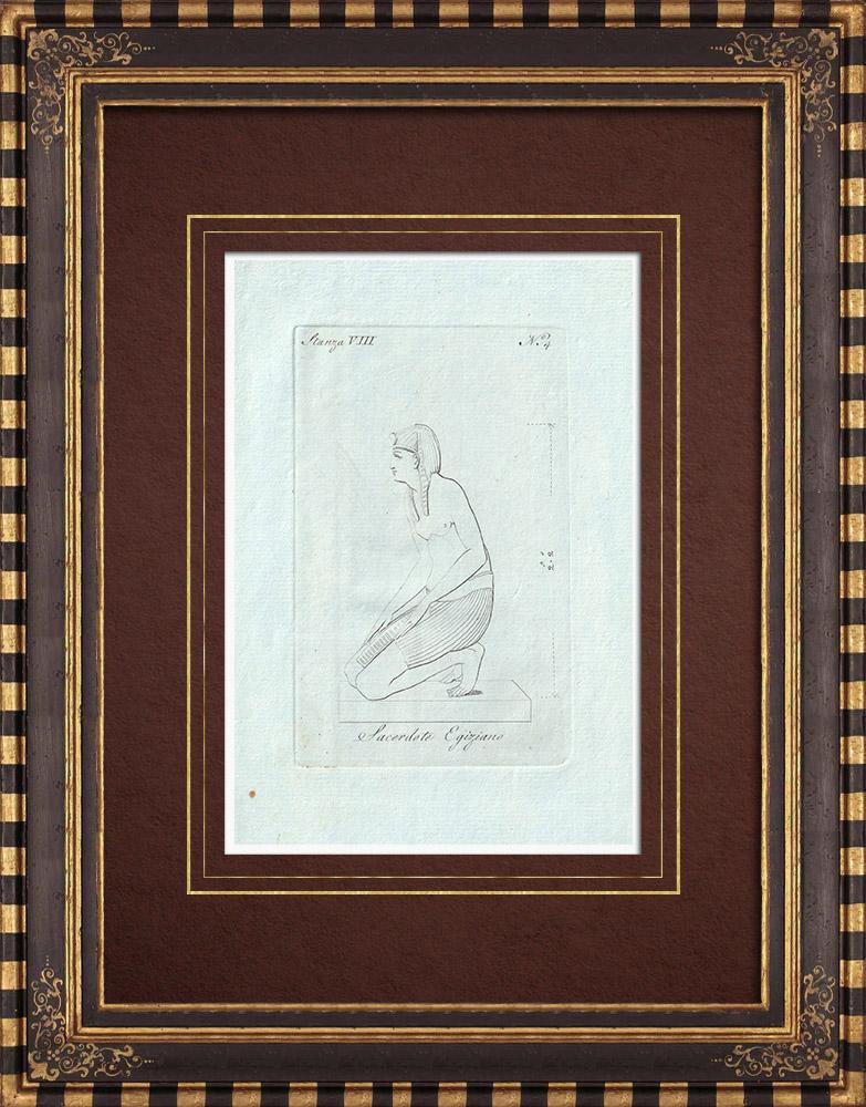 Stampe Antiche & Disegni | Sacerdote egiziano - Antico Egitto - Galleria Borghese - Roma  | Incisione su rame | 1796