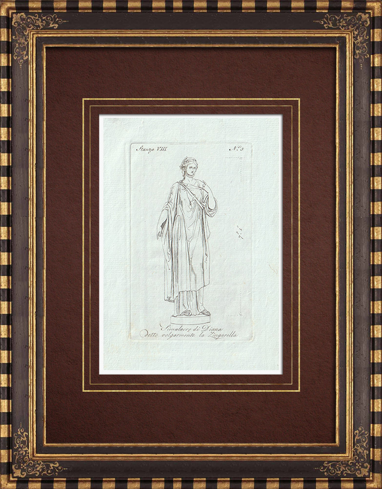 Stampe Antiche & Disegni | Zingarella, simulacro di Diana - Mitologia romana - Galleria Borghese - Roma | Incisione su rame | 1796