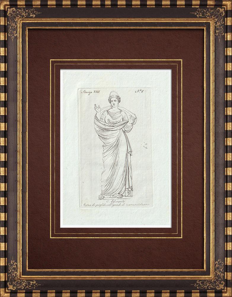 Stampe Antiche & Disegni | Statua di Adorante - Galleria Borghese - Roma | Incisione su rame | 1796