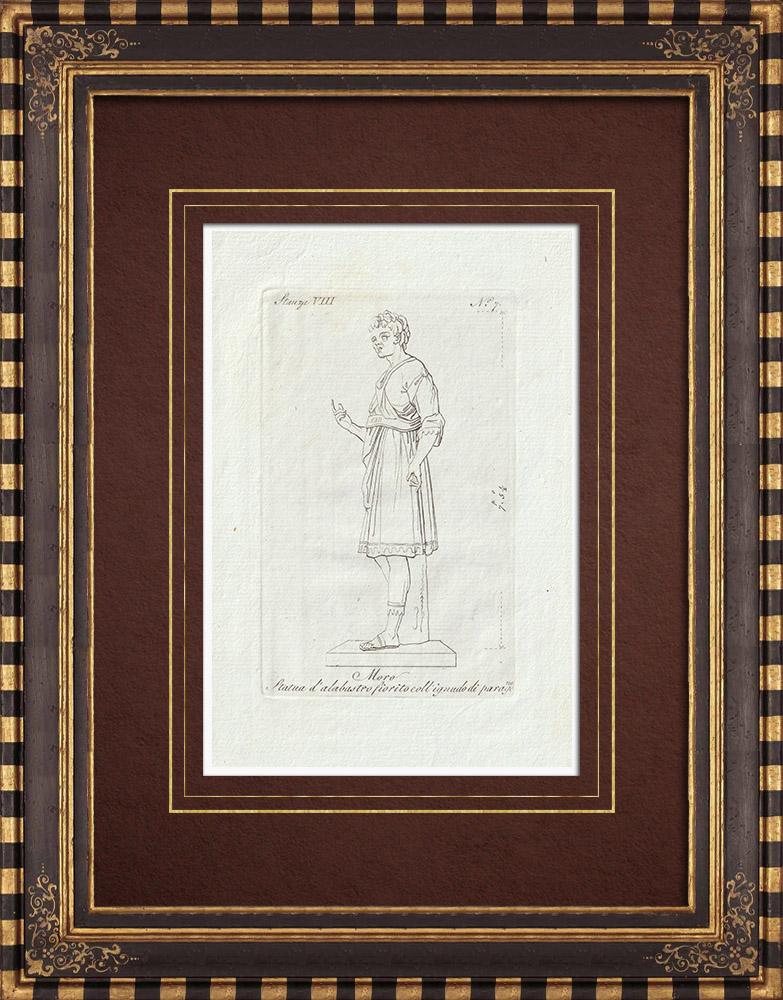 Grabados & Dibujos Antiguos | Estatua de alabastro del Moro Borghese - Galería Borghese - Roma | Grabado calcográfico | 1796