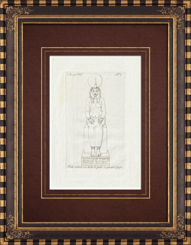 Stampe Antiche & Disegni | Iside con la testa di gatto - Antico Egitto - Galleria Borghese - Roma | Incisione su rame | 1796