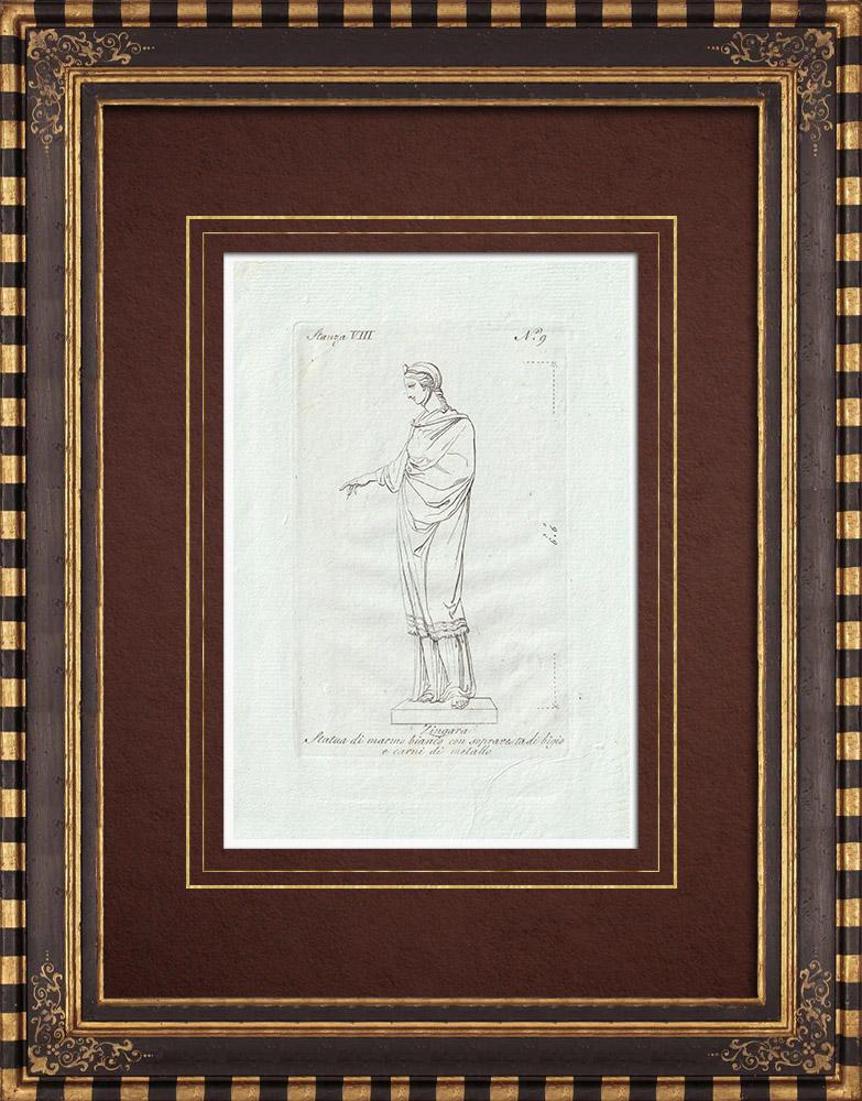 Stampe Antiche & Disegni | Zingara - Mitologia romana - Galleria Borghese - Roma | Incisione su rame | 1796